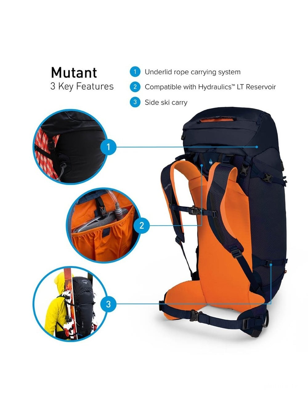 Osprey Sac d'alpinisme - homme -  Mutant 52 Blue Fire - 2018/19